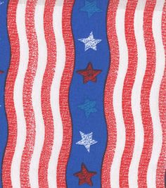 Holiday Inspirations Silver Stars On Red Stripes Glitter Fabric