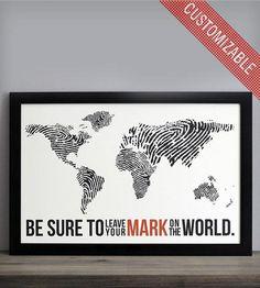 Fingerprint World Map - Travel Poster Print - Custom Colors - Wanderlust, Travel, Adventures, World Map Poster - Dorm Decor Travel Themes, Travel Posters, World Map Travel, World Map Poster, We Are The World, Oeuvre D'art, Poster Prints, Art Prints, Poster Collage