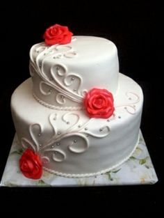 White-red wedding cake By val38 on CakeCentral.com by mandy