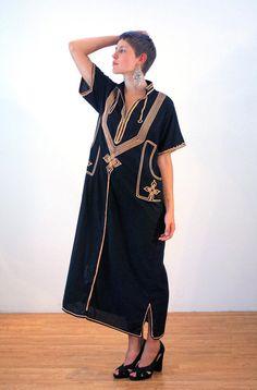 Carita, 70s Black Caftan L, Vintage Caftan, Black Caftan Dress, Moroccan Caftan, Hippie Tent Dress, Bohemian Folk Dress, Soutache Trim