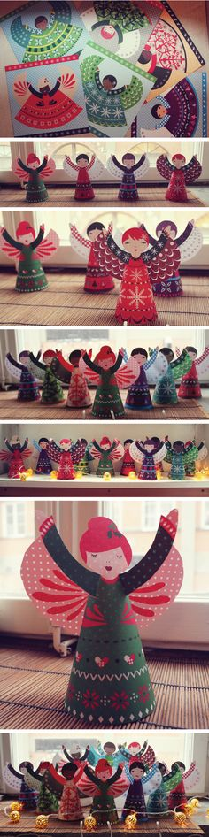 folded-paper-angels from the Usborne book of Christmas Decorations illustrated by Caroline Johansson