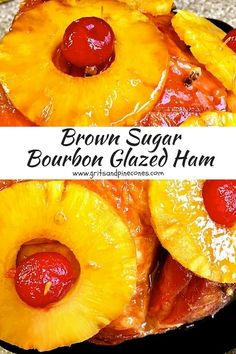 Brown Sugar and Bourbon Glazed Ham covered with pineapple slices, cloves and cherries is the perfect easy entrée for traditional Christmas Dinner. via @gritspinecones