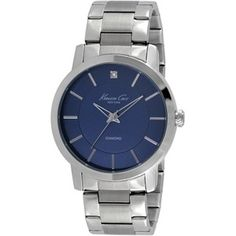 ab8e62a0685 Kenneth Cole New York Stainless Steel Watch with Blue Dial Pulseira De Aço  Inoxidável
