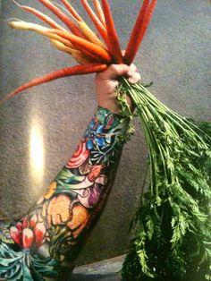 Sean Brock, chef, Husk Tatto Old, Vegetable Tattoo, Culinary Tattoos, Chef Tattoo, Food Tattoos, Tattoo Ideas, Tattoo Designs, Irezumi, Awesome Tattoos
