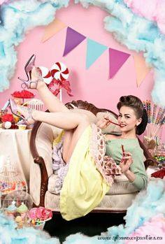 candyland pin up! Retro Pin Up, Estilo Pin Up Retro, Retro Style, Candy Girls, Rockabilly Pin Up, Rockabilly Fashion, Burlesque, Pin Up Fotografie, Pin Up Photography