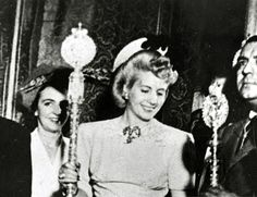 Eva Perón at an event in Spain, 1947.