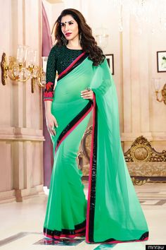 Green Chiffon Saree with Siquance Embroidery work and Black Blouse Piece