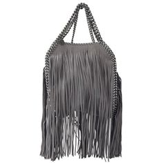 Stella McCartney Fringed Falabella Mini Tote ($1,865) ❤ liked on Polyvore featuring bags, handbags, tote bags, grey, grey tote bag, crossbody handbags, fringe tote, mini cross body purse and stella mccartney crossbody