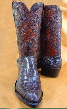 Glazed Alligator Boots | Hand Carved Tops