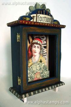 The Fortune Teller A gypsy themed assemblage by PixieHillStudio on Etsy Elements And Principles, Box Art, Art Boxes, Found Object Art, Assemblage Art, Button Art, Shadow Box, Mixed Media Art, Altered Art