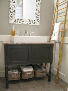 Image by Flutter Flutter - Wall Color CIL Zeppelin, Cabinet Color Custom Mix of CIL Mansard Stone and Forest Black Grey Bathrooms, Bathroom Renos, Beautiful Bathrooms, Small Bathroom, Bathroom Ideas, Downstairs Bathroom, Bathroom Remodeling, Eclectic Bathroom, Bathroom Updates