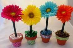 Easy flower pens in little clay pots make great gifts