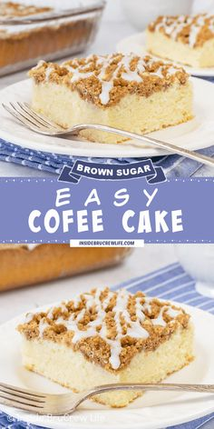 Easy Coffee Cake - A thick brown sugar crumble and a drizzle of glaze adds so much flavor to this easy coffee cake recipe. It is a delicious cake to make for breakfast or dessert. Breakfast Cake, Breakfast Casserole, Breakfast Ideas, Easy Desserts, Delicious Desserts, Cake Recipes, Dessert Recipes, Sour Cream Coffee Cake, Easy Coffee