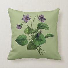 Pretty Vintage Violets Flower Floral Botanical  Throw Pillow | Zazzle.com