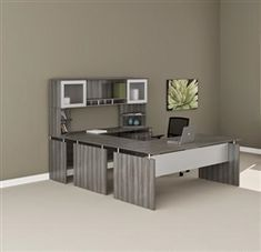 Modern office furnished with Mayline Medina series MNT39LGS gray steel finished U shaped executive office desk.