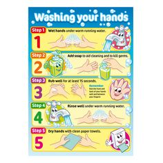 Promote good hygiene for children. colourful posters with child friendly charact promote good hygiene for Health Fair, Kids Health, Children Health, Hygiene Lessons, Poster Digital, Hand Washing Poster, Proper Hand Washing, Nurse Office, Classroom Rules