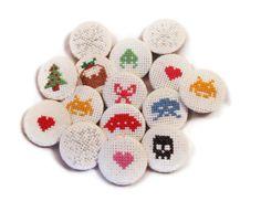 Geek and Kitsch Cute Cross Stitch Pins/Badges. £2.00, via Etsy.