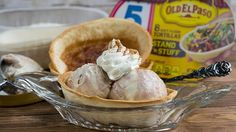 Upgrade your ice cream sundae with Old El Paso™ Stand 'N Stuff™ soft flour tortillas made into a quick and easy cinnamon-sugar shell.