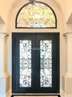Did you know all of our doors can be designed in any color, shape, and size to fit your needs? 💡 About this design: Custom Iron Door w/Transom ☎️️ 877-205-9418 🌐 www.iwantthatdoor.com Wrought Iron Doors, Shape, Mirror, Fit, Color, Design, Home Decor, Decoration Home, Wrought Iron Gates