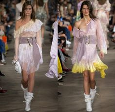 Philosophy Di Lorenzo Serafini 2017 Spring Summer Womens Runway Catwalk Looks - Milano Moda Donna Collezione Milan Fashion Week Italy - The Blue Lagoon Victorian Frayed Raw Hem Denim Jeans Corset Shorts Baby Doll Slip Dress Plunging Neckline Lace Sheer Ch