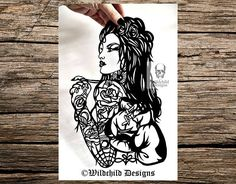 Boxing Queen Woman Tattoo Paper Cutting Template for Personal