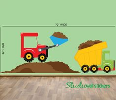 Dumptruck Wall Decal - Childrens Fabric Wall Decal - REUSABLE  DECAL. $80.00, via Etsy.