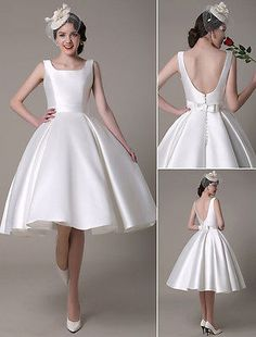 Tea Length Wedding Dress Short Satin Gown Sleeveless Backless All Sizes | Clothing, Shoes & Accessories, Wedding & Formal Occasion, Wedding Dresses | eBay!