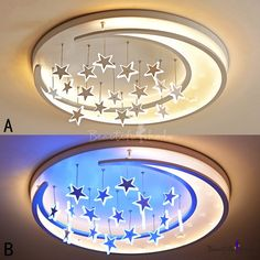 Beautiful LED Flush Ceiling Light with Hanging Moon and Sparkling Stars, Fashion Style Kid's Lighting Gypsum Ceiling Design, Ceiling Design Living Room, Bedroom False Ceiling Design, Bedroom Pop Design, Kids Bedroom Designs, Star Ceiling, Flush Ceiling Lights, Sparkling Stars, Luz Led