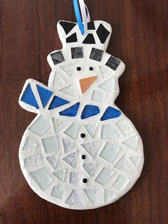 Stained Glass Mosaic Snowman Snowman Ornament Christmas