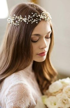 Brides & Hairpins 'Arabella' Jeweled Halo & Sash, Size One Size – Grey - Education and lifestyle Box Braids Hairstyles For Black Women, Stacked Bob Hairstyles, Crown Hairstyles, Bride Hairstyles, Floral Headpiece, Headpiece Wedding, Bridal Headpieces, Bride To Be Sash, Bridal Hair Accessories