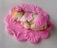 Baby girl fondant topper ebaby   ebhelen08