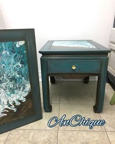 End tables finished in Chalk Paint™️ by Annie Sloan. Tops finished using a double dirty pour to create a beachy water scene. http://www.facebook.com/AnchiqueCanada/