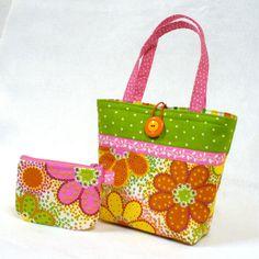 Citrus Daisy Fabric Little Girls Purse Coin by Heart2Handbags