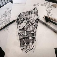 Dad Tattoos, Badass Tattoos, Body Art Tattoos, Sleeve Tattoos, Tattoos For Guys, Biomech Tattoo, Piston Tattoo, Biomechanical Tattoo Design, Gear Tattoo