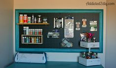 Craft Room Pegboard Organization   Addicted 2 DIY.  Learn how to build this easy and functional pegboard for your craft room.