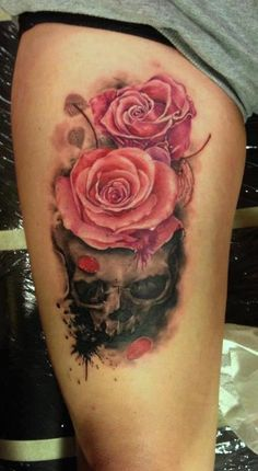 Awesome tattoo - skull with roses. #tattoo #tattoos #ink