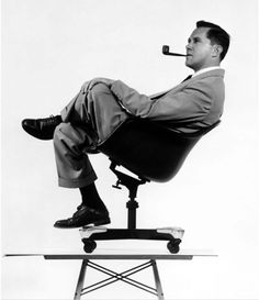 Charles Eames w/ DAT-1 (by Charles and Ray Eames for Herman Miller, 1953)