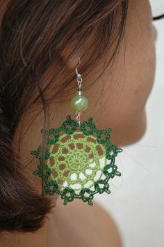 Crochet earring jewelry  Large crochet earring  by lindapaula, €12.00