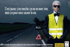 Karl Lagerfeld pour la sécurité routière. Si décalé !