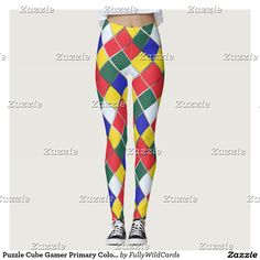 Puzzle Cube Gamer Primary Colors Colorful Red Blue Leggings