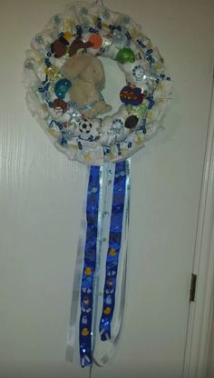 Diaper wreath I did for my 2nd grandson james