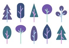 A free vector illustration of 10 minimalist trees. Hope you enjoy it!