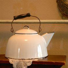 VINTAGE Primitive White Enamel Tea Kettle - Farmhouse Ware, Home Decor, Collectible. $38.00, via Etsy.