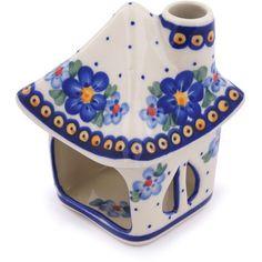 Polish Pottery 5-inch House Shaped Candle Holder | Boleslawiec Stoneware | Polmedia H7080G | Polmedia