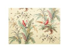Brunschwig & Fils GLENRINNES LODGE COTTON PRINT RED BIRD BR-71255.166 - Brunschwig & Fils - Bethpage, NY, BR-71255.166,Brunschwig & Fils,Print,Red/Burgundy,Heavy Duty,S,Up The Bolt,Botanical/Foliage,Multipurpose,Spain,Yes,Brunschwig & Fils,No,GLENRINNES LODGE COTTON PRINT RED BIRD