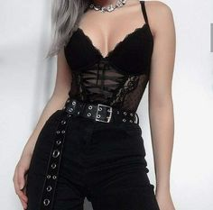 spring womens fashion which look stunning:) 663443 moda donna primavera che sembra incredibile :] 663443 Gothic Outfits, Edgy Outfits, Teen Fashion Outfits, Mode Outfits, Grunge Outfits, Cute Casual Outfits, Girl Outfits, Black Outfit Grunge, Hipster Outfits