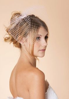 READY TO SHIP- Blusher Birdcage Veil Available in Ivory, off white, white and pink. $34.00, via Etsy.
