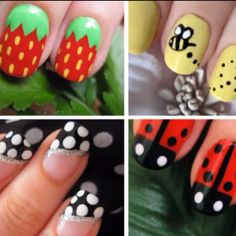 Summertime nails. The bumblebees are cute