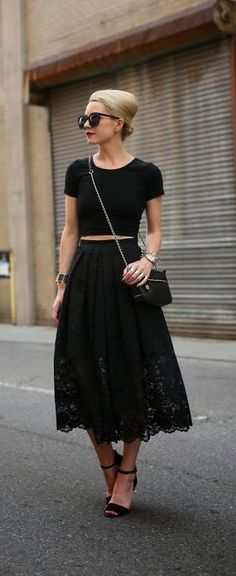 Black Lace Mini Dress with Black Top and Pumps | Summer Outfits