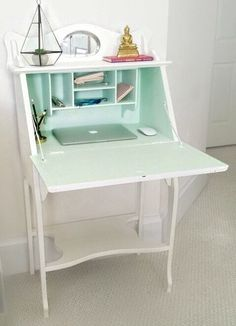 antique small secretary desk off white pick up only